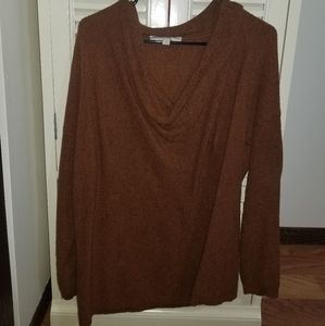 Loft Brown Cowl Drape Sweater Large